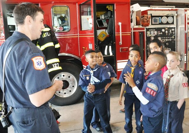 Fire Fighter Speaking to Cub Scouts